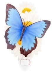 Blue Butterfly on Daisies Night              Light